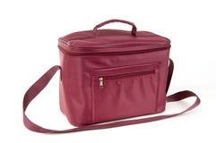 袋子查出的红色冰箱 免版税图库摄影