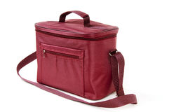 袋子查出的红色冰箱 免版税库存图片