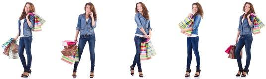 袋子查出的购物的白人妇女年轻人 图库摄影