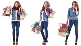 袋子查出的购物的白人妇女年轻人 免版税图库摄影