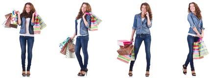 袋子查出的购物的白人妇女年轻人 免版税库存照片