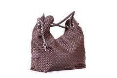 袋子棕色隔离白色 免版税图库摄影