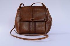 袋子棕色隔离白色 免版税库存图片