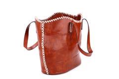 袋子棕色隔离白色 免版税库存照片