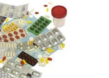 袋子模板与药片和容器的 免版税库存图片