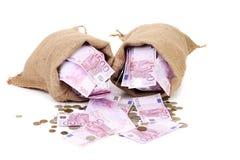 袋子欧元和硬币 免版税库存照片