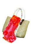 袋子海滩查出的太阳镜毛巾 免版税库存图片