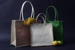 袋子由自然eco做成回收了黑森州的大袋用苹果、黑麦和花 库存照片