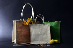 袋子由自然eco做成回收了黑森州的大袋用苹果, ry 免版税库存照片