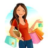 袋子白肤金发的蓝色日眼睛查出采取白色的购物 图库摄影