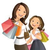 袋子白肤金发的蓝色日眼睛查出采取白色的购物 免版税图库摄影