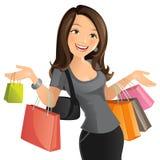 袋子白肤金发的蓝色日眼睛查出采取白色的购物 免版税库存照片