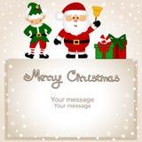 袋子看板卡圣诞节霜klaus ・圣诞老人天空 与圣诞节矮子和圣诞老人的滑稽的明信片 向量例证