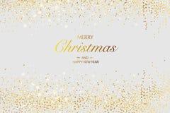 袋子看板卡圣诞节霜klaus ・圣诞老人天空 与闪烁金黄框架的文本的背景和空间 库存图片