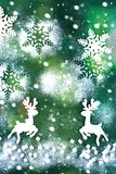 袋子看板卡圣诞节霜klaus ・圣诞老人天空 在绿色背景 免版税图库摄影