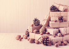 袋子看板卡圣诞节霜klaus ・圣诞老人天空 圣诞节礼物、坚果和冷杉球果 葡萄酒st 图库摄影