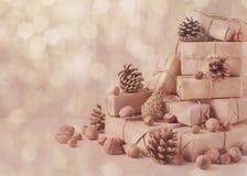 袋子看板卡圣诞节霜klaus ・圣诞老人天空 圣诞节礼物、坚果和冷杉球果 葡萄酒st 库存图片