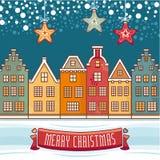 袋子看板卡圣诞节霜klaus ・圣诞老人天空 圣诞节问候 皇族释放例证