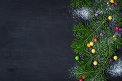 袋子看板卡圣诞节霜klaus ・圣诞老人天空 文本的空间 免版税库存照片