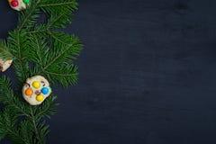 袋子看板卡圣诞节霜klaus ・圣诞老人天空 文本的空间 库存照片