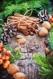 袋子看板卡圣诞节霜klaus ・圣诞老人天空 肉桂条,杉树,自然食物 库存照片