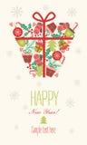 袋子看板卡圣诞节霜klaus ・圣诞老人天空 背景设计要素空白四的雪花 2007个看板卡招呼的新年好 图库摄影