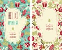 袋子看板卡圣诞节霜klaus ・圣诞老人天空 背景设计要素空白四的雪花 库存图片