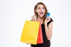 袋子看板卡赊帐藏品购物妇女 免版税库存图片