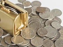 袋子硬币 免版税库存照片