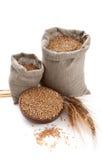 袋子碗谷物麦子 免版税图库摄影