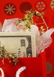 袋子礼品货币红色 免版税图库摄影