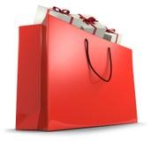 袋子红色购物 免版税库存照片