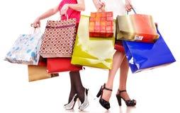 袋子组行程穿上鞋子购物 库存图片