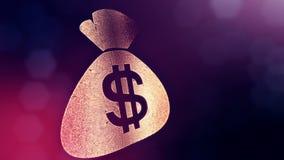 袋子美元的符号和象征  光亮微粒财务背景  3D与景深的圈动画, bokeh 向量例证