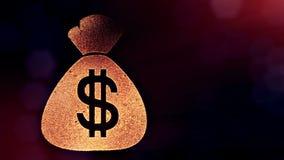 袋子美元的符号和象征  光亮微粒财务背景  3D与景深的圈动画, bokeh 皇族释放例证