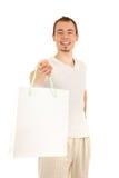 袋子英俊的人纸张白色 免版税库存照片