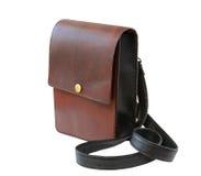 袋子褐色查出的皮革 免版税库存图片