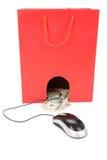袋子计算机鼠标购物 库存图片
