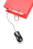袋子计算机鼠标购物 免版税库存照片