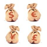 袋子货币 免版税库存照片