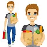 袋子运载的副食品人 库存例证