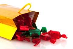 袋子金黄糖果的圣诞节 库存图片