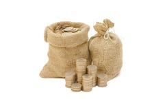 袋子铸造货币 免版税库存图片