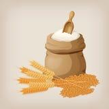 袋子面粉和铁锹,麦子,耳朵 向量例证