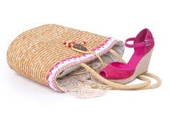 袋子鞋子妇女 免版税库存照片