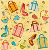 袋子香水s穿上鞋子妇女 免版税库存图片
