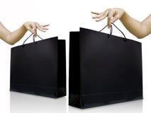 袋子黑色光滑的夫人挑库购物 免版税图库摄影