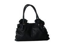 袋子黑色女性皮革白色 免版税库存照片