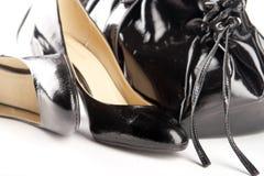 袋子黑色鞋子 库存图片