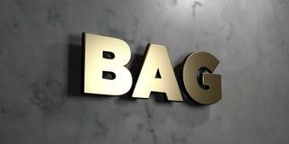 袋子-在光滑的大理石墙壁登上的金标志- 3D回报了皇族自由储蓄例证 图库摄影